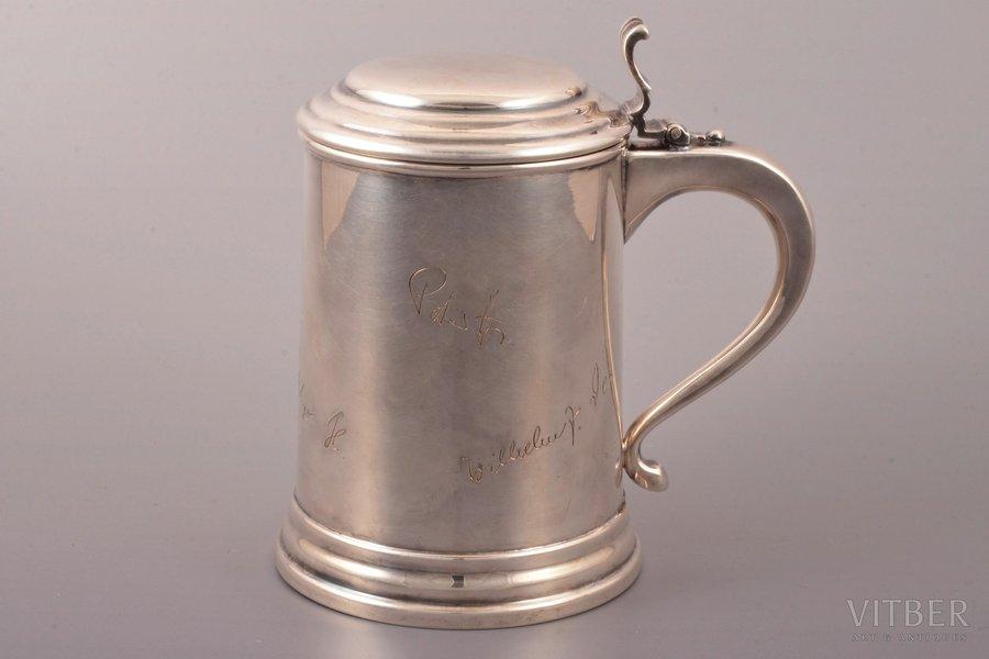 beer mug, silver, 925 standart, 375.15 g, Germany, h 15.2 cm