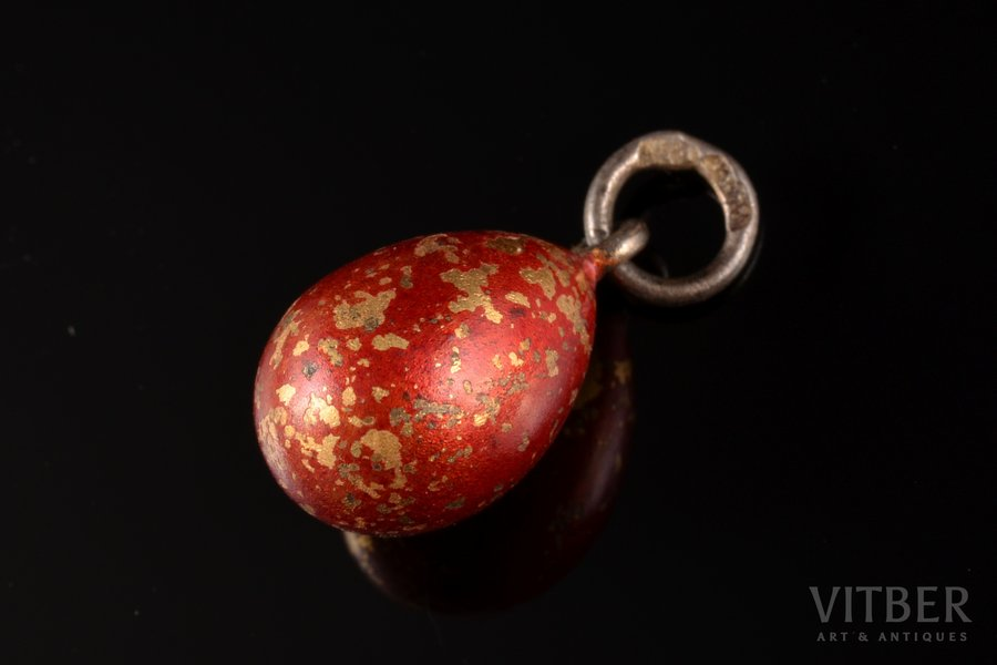 a pendant, in the shape of egg, silver, 84 standart, 1.15 g., the item's dimensions 1.7 cm, 1908-1917, Russia