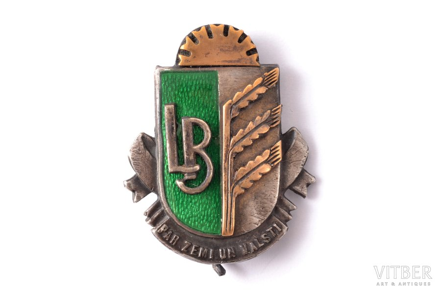badge, LB, Agricultural Society, For Land and Country, Latvia, 20-30ies of 20th cent., 27.6 x 22.2 mm