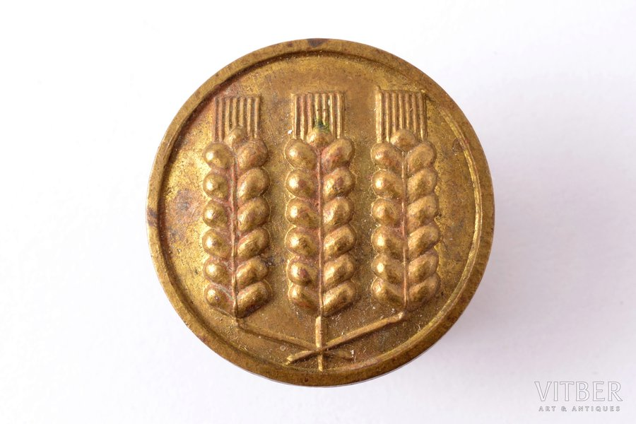 badge, Mazpulki, with 3 ears, Latvia, 20-30ies of 20th cent., 20 x 20 mm