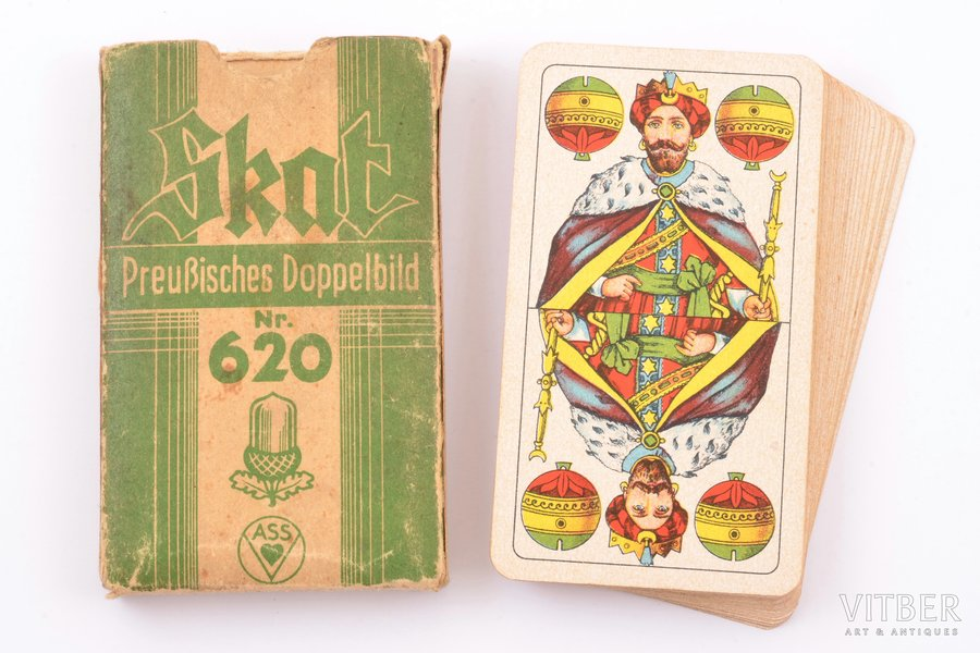 """set of playing cards, SKAT Preußisches Doppelbild Nr. 620, 32 cards, manufacturer """"ASS"""", Germany, card size 10 x 5.6 cm, in a box"""