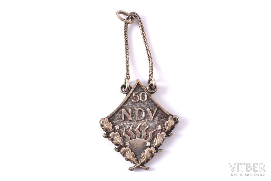 school badge, NDV 50, Natalija Draudziņa Secondary School, silver, Latvia, USSR, 24.4 x 21.1 mm