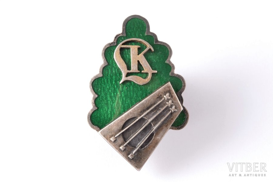 badge, Latvian Conservatory, silver, enamel, Latvia, 20-30ies of 20th cent., 34.5 x 22.5 mm