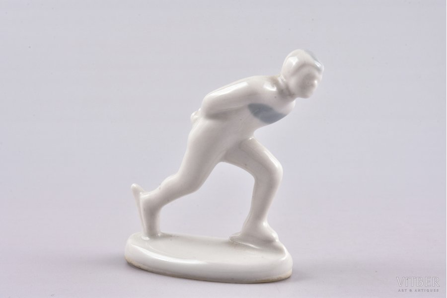 figurine, Speed skater, porcelain, Riga (Latvia), USSR, Riga porcelain factory, molder - Aina Mellupe, the 60ies of 20th cent., 6 cm, first grade