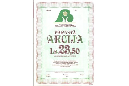 "1994, Latvia, joint-stock company ""Alejas komercbanka"", sample stock in the value of 23.50 ls"