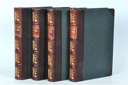 """Prof. R.Krimberga, prof. N.Maltas, dr. A.Bīlmaņa , A.Grīna redakcijā, """"Zeme un tautas"""", PUSĀDAS VĀKU IESĒJUMS, 1930, 1931, 1929, г., Grāmatu izdevniecība """"Saule"""", Рига, 607 + 597 + 683 + 620 стр., 4 тома"""