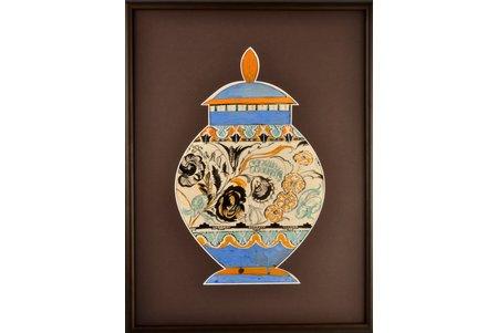 """Сута Роман (1896-1944), Эскиз к вазе """"Цветочный мотив"""", ~ 1937 г., бумага, акварель, 42 x 26.5 см, (указаны размеры вазы)"""