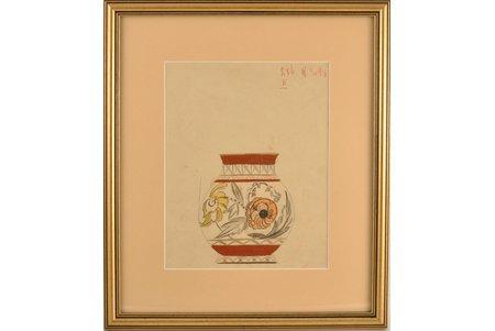 """Сута Роман (1896-1944), Эскиз к вазе """"Цветочный мотив"""", ~ 1937 г., бумага, акварель, 23.5 x 18.5 см"""