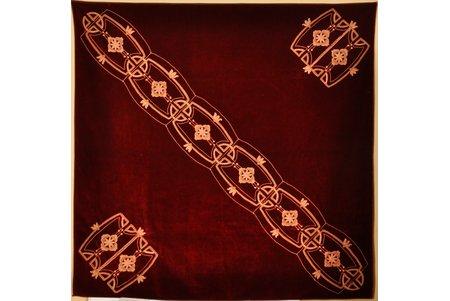 скатерть, ар нуво, мануфактура LOTZ (Польша в составе Российской Империи), вышивка золотом, 150 x 150 cм, Российская империя, начало 20-го века