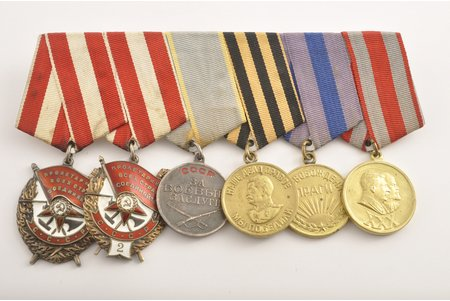 "set, 2 Red Banner orders №208394, № 29422, medal for Combat Merit №2602521, medal for the Victory over Germany, medal for the liberation of Prague, medal ""30 year anniversary of the soviet army and navy"", USSR, 45x37, 32x32 mm"