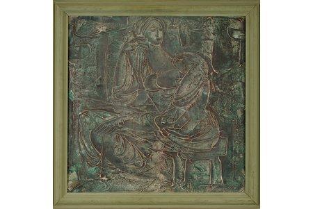 """Skulme Džemma (1925), """"Tautu meita"""", 1972 g., audekls, eļļa, 50 x 50 cm"""