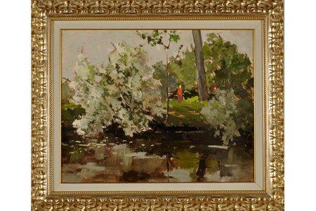 Kalnroze Valdis (1899-1998), Sieviete upes krasta, kartons, eļļa, 39 x 50 cm