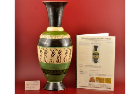 vase, based on a sketch by R.Suta, M.S. Kuznetsov manufactory, Riga (Latvia), the 20ties of 20th cent., 48 cm, with an act of expertise