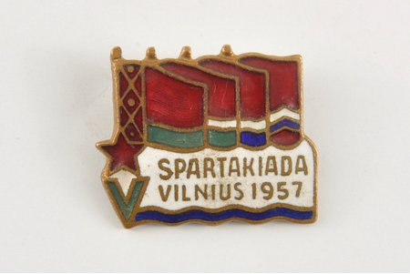 badge, Sports day in Vilnius, USSR, Lithuania, 1957, 16x19 mm