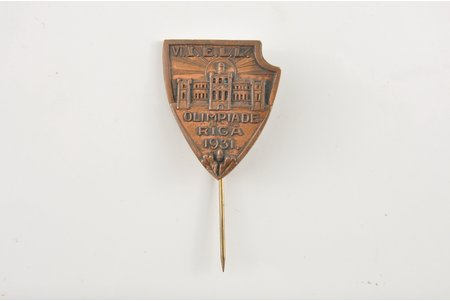 badge, Olympics in Riga, Latvia, 1931, 30x25 mm