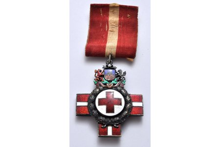 badge, The badge of the Red Cross of the Republic of Latvia, 2nd class, silver, Latvia, 20-30ies of 20th cent., 55 x 44 mm