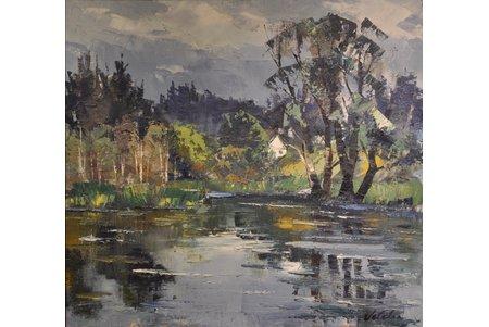 Veldre Harijs (1927-1999), Ainava ar ezeru, audekls, eļļa, 65x70 cm