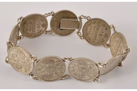 a bracelet, made from 15-copeck coins, silver, 28.3 g., Russian empire