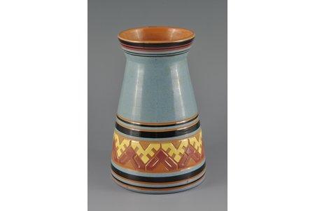 vase, 23 cm, ceramics, Riga (Latvia), Kuznetsov, the 20-30ties of 20th cent., the ornament of Madernieks (a painter)