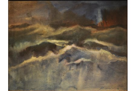 Zviedris Aleksandrs (1905-1993), A Night Sea, carton, oil, 50.5x65 cm