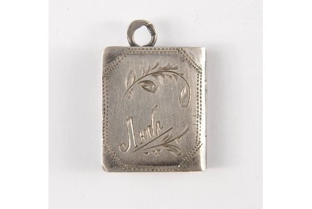 a pendant, a medallion, silver, 84 standart, 3.8 g., the item's dimensions 2.5х2 cm, the beginning of the 20th cent., Russia, Kostroma
