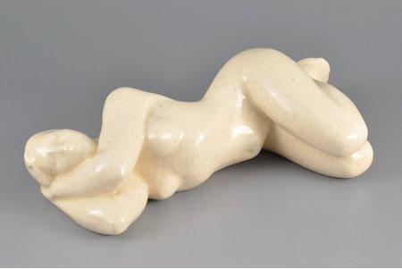 "figurine, A Woman in the ""Nude"" taste, faience, Riga (Latvia), USSR, sculpture's work, molder - Peter Zakharov, 1962, 27х8 cm"
