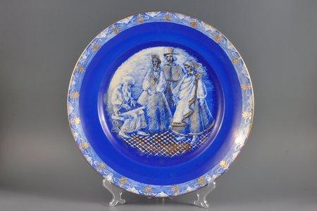 dekoratīvs šķīvis, Tautas motīvs, autordarbs, Rīga (Latvija), PSRS, 1957 g., 36 cm, Elfridas Poles-Aboliņas roku apgleznojums