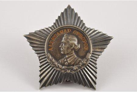 орден Суворова 3-й степени № 9248, серебро, СССР, 40-е годы 20го века, 49x49 мм, 24.88 г
