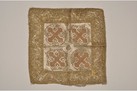 part of religious clothes (kerchief), embroidery, Russia, the 19th cent., 35x35 cm