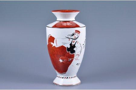 vāze, Tautas motīvs, Rīga (Latvija), 20 gs. 30tie gadi, 16 cm, roku apgleznojums - Valdis Krisons