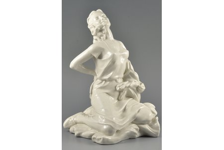 figurine, Rest during the haying, porcelain, Riga (Latvia), USSR, sculpture's work, molder - Rimma Pancehovskaya, the 50ies of 20th cent., 28 cm, 1-st of 2 items