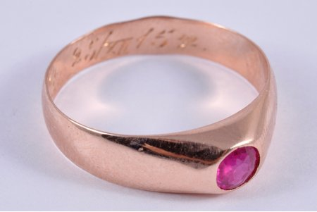 a ring, gold, 56 standart, 3.03 g., the size of the ring 18.5, ruby, the beginning of the 20th cent., Russia