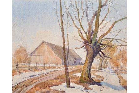 Gustiņš Zigurds (1919-1950), Pavasara ainava, 1948 g., papīrs, akvarelis, 30.5х37 cm