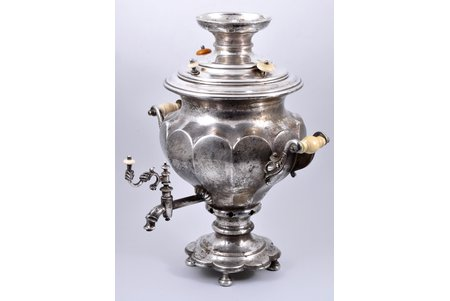 samovar, Genniger and Co, brass, ivory, silver plated, Russia, Poland, the 2nd half of the 19th cent., 45 cm, weight 3920 g