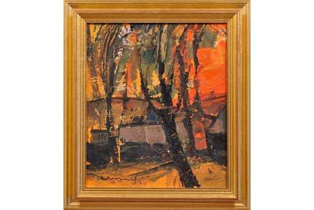 """Mūrnieks Laimdots (1922-2011), """"Vakara saule"""", 1959 g., kartons, eļļa, 38x33 cm"""