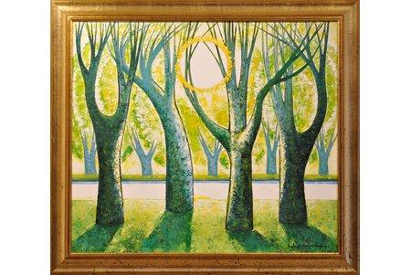 """Mūrnieks Laimdots (1922-2011), """"Parks.Pavasaris."""", 2005 g., kartons, eļļa, 74x84 cm"""