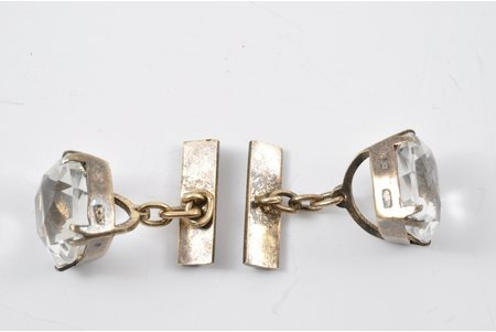 cufflinks, silver, 875 standart, 9.05 g., rock crystal, the 60ies of 20th cent., USSR