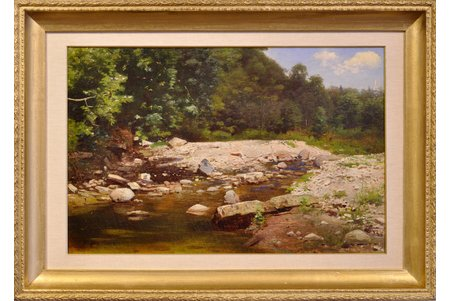 Feders Julijs Janovitch (1838-1909), Fores River, the 2nd half of the 19th cent., carton, oil, 32x52 cm, expert report (chemical analysis)
