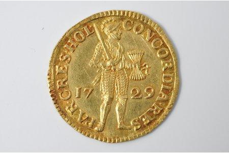 1 дукат, 1729 г., золото, Нидерланды, 3.45 г, Ø 23-23.5 мм, XF