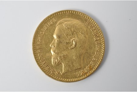 5 рублей, 1910 г., ЭБ, золото, Российская империя, 4.3 г, Ø 18.5 мм, F