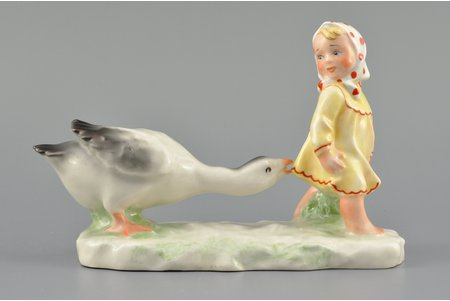 figurine, Girl with a goose, porcelain, Riga (Latvia), USSR, Riga porcelain factory, the 50ies of 20th cent., 10 cm