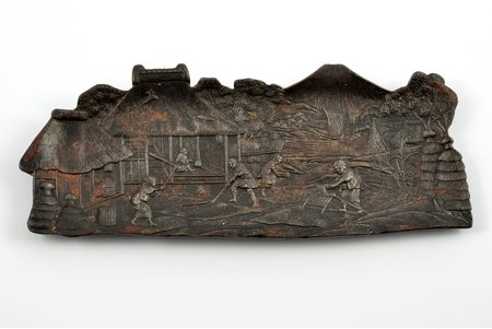"""tray, """"Japanese village"""", cast iron, 25 x 10 cm, weight 426 g., USSR, Kasli, the 30ties of 20th cent."""