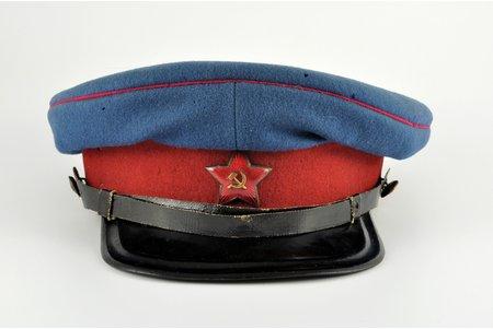 фуражка, НКВД, СССР, 1935-1937 г., редкий вариант кокарды (с накладным серпом и молотом), 32 x 35 мм