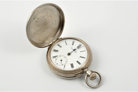 """pocket watch, """"Павелъ Буре (Pavel Buhre)"""", 1st prize """"For an excellent shooting"""", to Andrey Aksyenov, supplier of the court of His Imperial Majesty, Russia, the beginning of the 20th cent., silver, 84 standart, Ø 50 mm, out of working condition"""