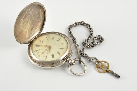 pocket watch, Switzerland, the border of the 19th and the 20th centuries, silver, 84 standart, 75.30 (total) g, Ø 52 mm, out of working condition
