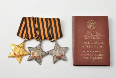 Order of Glory set with certificate, № 2907, 36018, 2907, 1st class, 2nd class, 3rd class, USSR, 1946, 48.5х45 / 48.5х44 / 48.5х44 mm, 30.10 / 23.05 / 24.15 g
