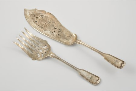 flatware set: fork, cake server, silver, engraving, 1875, 150.40+98.20 g, Germany, 31+23 cm