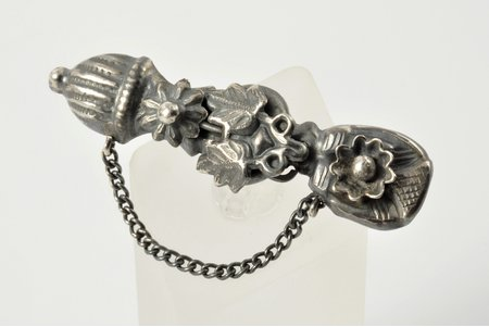 a brooch, silver, 84 standart, 4.7 g., the item's dimensions 5.10 x 1.36 cm, 1880-1890, Moscow, Russia