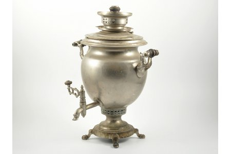 "samovar, Alenchikov and Zimin, shape ""smooth egg"", brass, nickel plating, Russia, the border of the 19th and the 20th centuries, 37.5 cm, weight 4120 g"