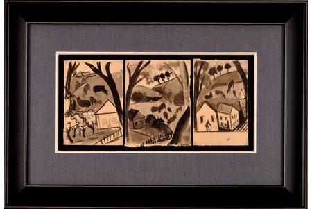 """Сута Роман (1896-1944), триптих """"Пенза"""", 1916-1917 г., бумага, смешанная техника, 17x12 (*3) см, Пензенское художественное училище"""
